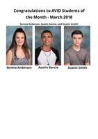 AVID Students of the Month - March