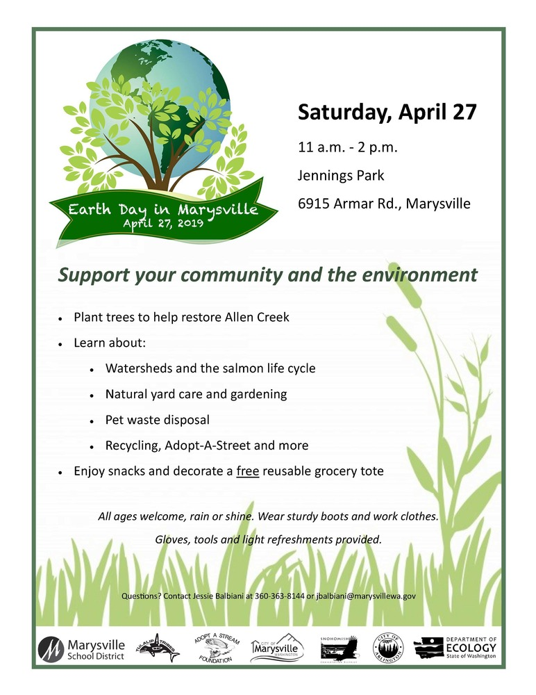 Celebrate Earth Day in Marysville April 27 at Jennings Park