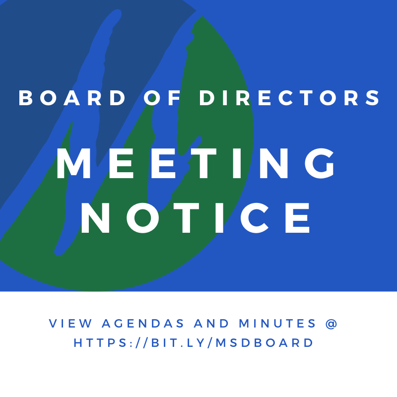 Notice of Board of Directors Work Study and Regular Session Meeting, March 3, 2021