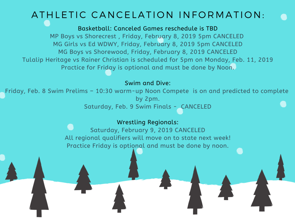 Athletic Cancelation Information: