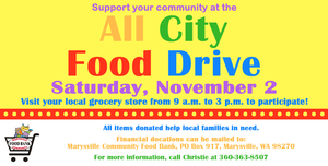 MARYSVILLE ALL CITY FOOD DRIVE Saturday, November 2 9am - 3pm