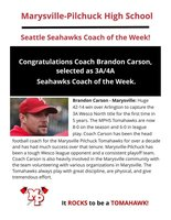 Brandon Carson Named Seattle Seahawks Coach of the Week!
