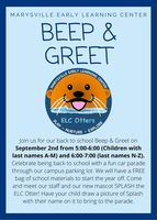 Beep and Greet Back to School Event, Wednesday September 2nd