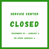 Service Center will be closed from December 23 to January 3
