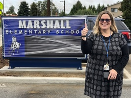 Marshall Elementary School sign installation