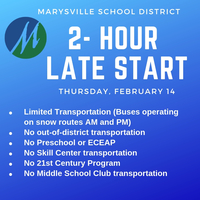 2-hour late start Thursday, February 14.