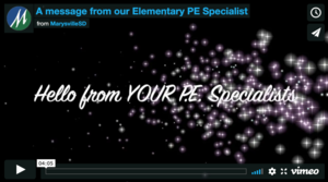 A message from our Elementary PE Specialist
