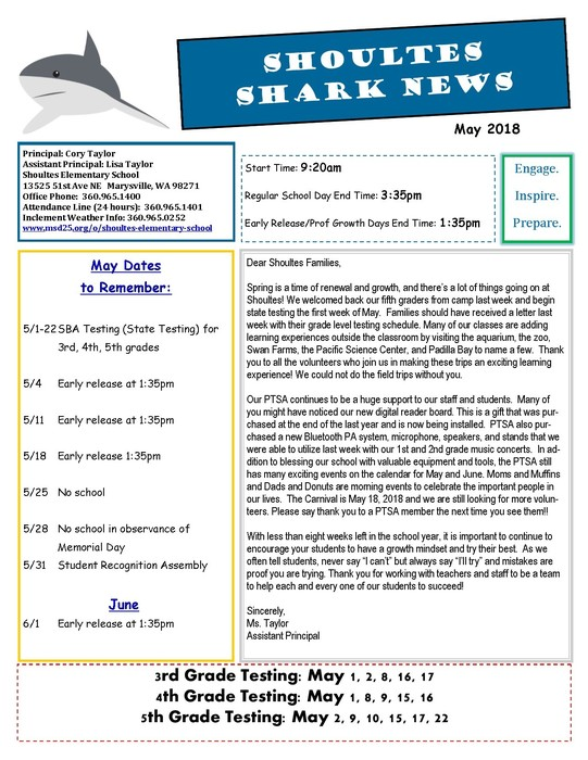 Shoultes Shark May Newsletter Page 1 of 2.
