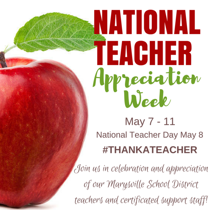 """Kids don't remember what you try to teach them. They remember what you are."" - Jim Henson. Join us in celebration of our Marysville School District teachers and certificated support staff during National Teacher Appreciation Week, May 7 - 11! #ThankATeacher"