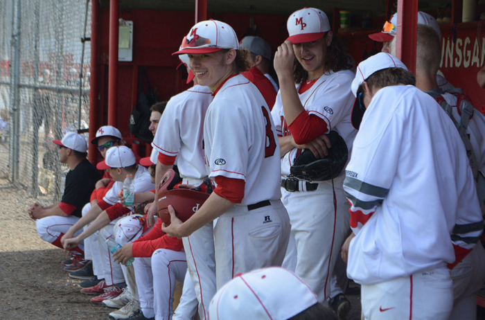 Photo of MPHS Baseball Team in dugout