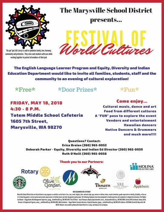 Festival of World Cultures, Friday, May 18, 2018, 4:30 - 8 p.m. at Totem Middle School 1605 7th Street, Marysville, WA 98270.
