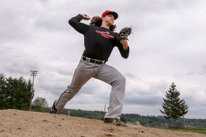 Eric Anderson of Marysville Pilchuck is a first-team All-Wesco 3A North selection as both a pitcher and a utility player. (Kevin Clark / The Herald)