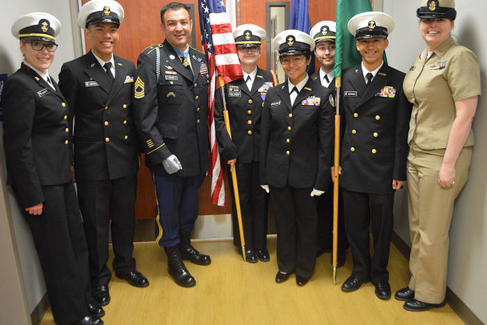 Photo of Marysville NJROTC Students and Master Sgt. Leroy A. Petry