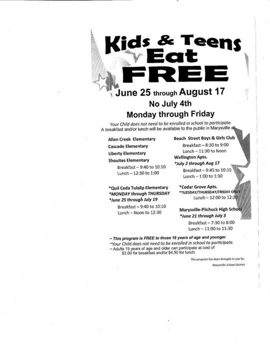 Kids & Teens Eat Free