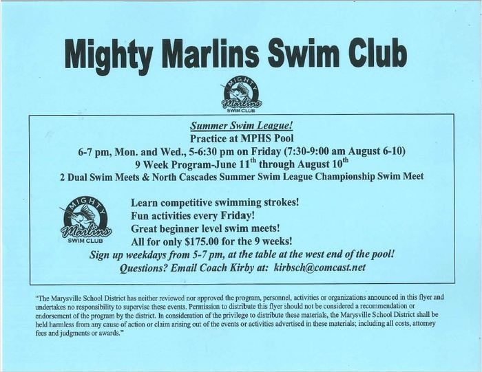 Mighty Marlins Swim Club - Summer League!