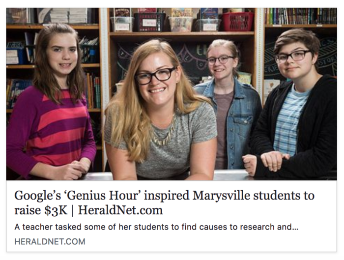 Kolleen Lothian, 31, a seventh-grade teacher at Totem Middle School, tasked her students with a project assignment called Genius Hour where they developed a research and action project to raise money for causes. Students including Mckinley Galde, Sydney Sumsion and Molly Wright collectively raised $3,300. (Andy Bronson / The Herald)