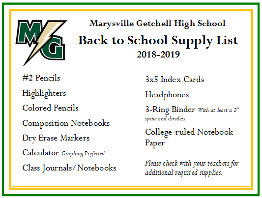MGHS School Supply Lists