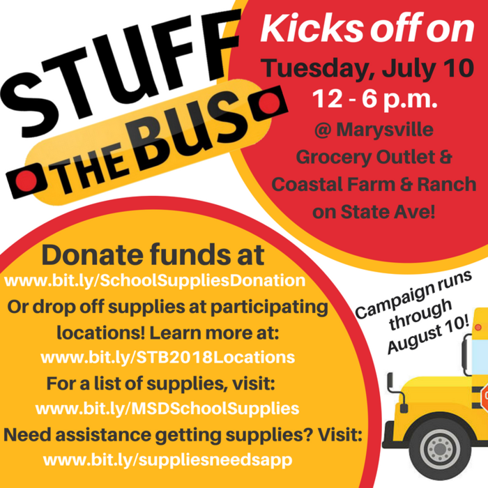 Stuff the Bus Kicks off Tuesday, July 10, 12 - 6 p.m. at Marysville Grocery Outlet and Coastal Farm and Ranch
