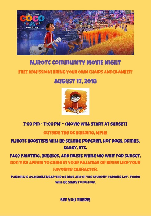 NJROTC Community Movie Night, August 17, 2018, 7 - 11 p.m.,. Outside the OC Building at Marysville Pilchuck High School, NJROTC Boosters will be selling popcorn, hotdogs, drinks and candy. There will be face painting, bubbles, and music while you wait for the sunset. Don't be afraid to come in your PJs or dress like your favorite characters. Parking available near the OC building and in the student parking lot!