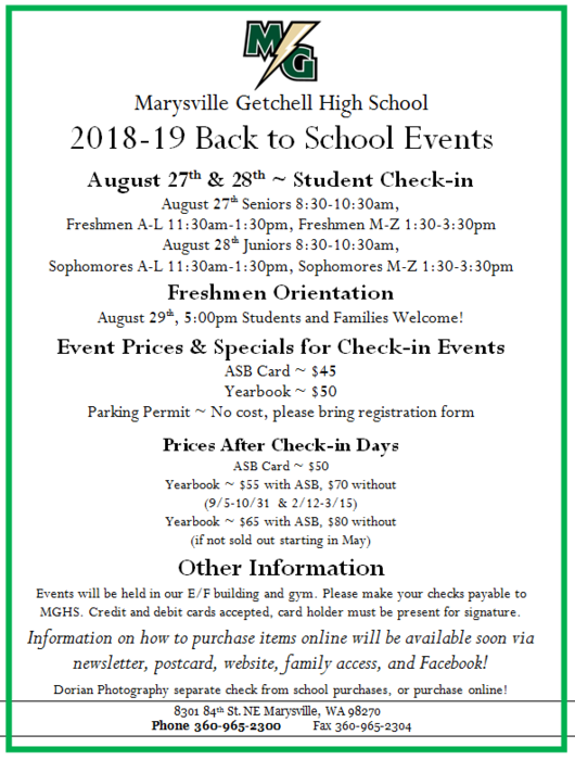 MGHS Back to School Events