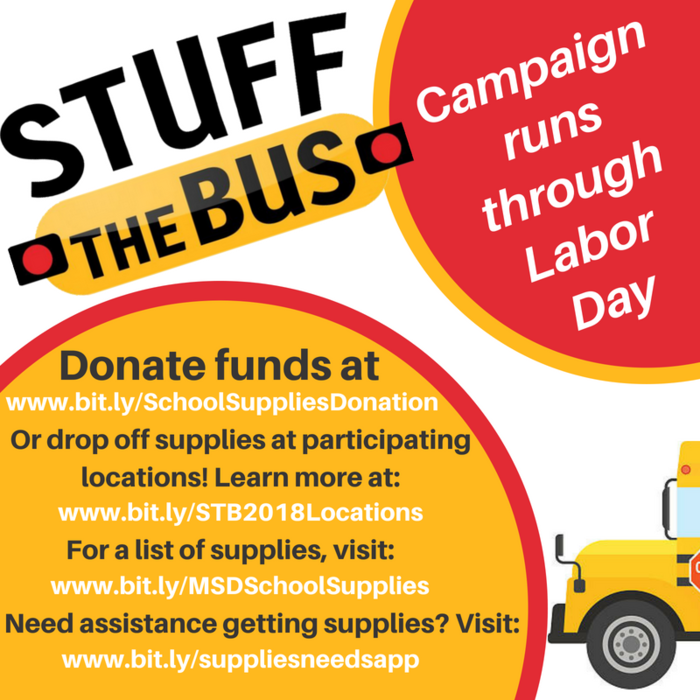 Guess what!? The #StuffTheBus effort will continue until Labor Day Weekend! Learn about how you can help, or access needed resources for your family at www.msd25.org/stuff-the-bus-2018