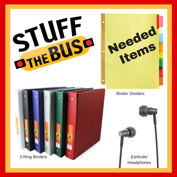Image: Stuff the Bus Needs - Binders, Earbuds/Headphones, Binder Dividers
