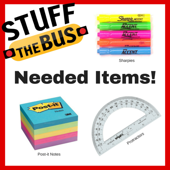 Image: Stuff the Bus Needs - Highlighters, Post-Its, Protractors