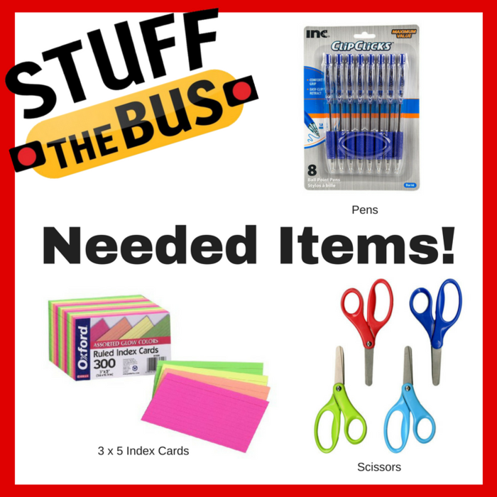 Image: Stuff the bus needs - 3 x5 index cards, Pens, Scissors