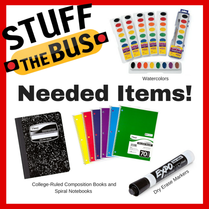 Image: Stuff the bus needs - College-Ruled Composition Books and Spiral Notebooks, Dry Erase Markers, Watercolors