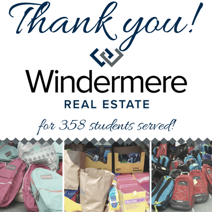 Image: Thank you Marysville Windermere Real Estate for 358 students served!
