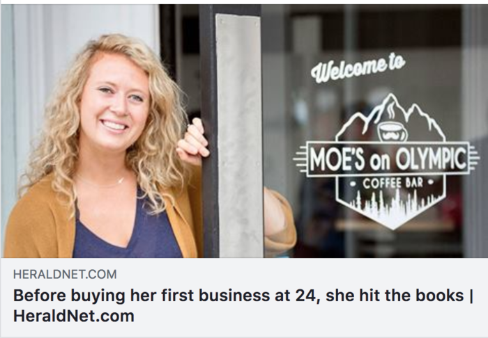 Kaitlyn Davis opened Moe's Espresso in July in downtown Arlington on August 24, 2018. (Kevin Clark / The Herald)