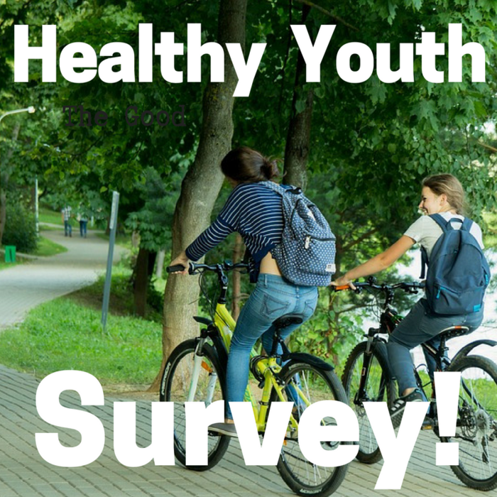 "Image: Students Riding Bike with words ""Healthy Youth Survey"""