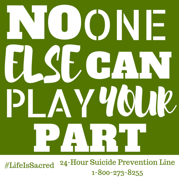 No one else can play your part #TMUnityMonth #LifeIsSacred Learn more at https://goo.gl/mNVY3d