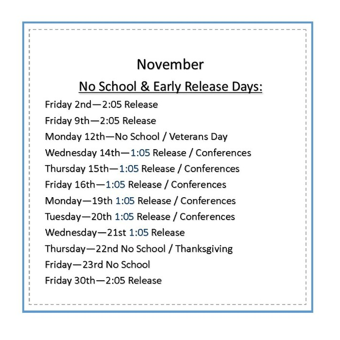 November No school & early release days