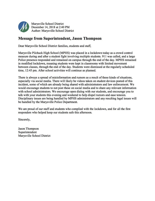 Message from Superintendent, Jason Thompson