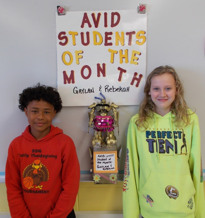 Rebekah Hanson & Gaylan Gray AVID students of the Month