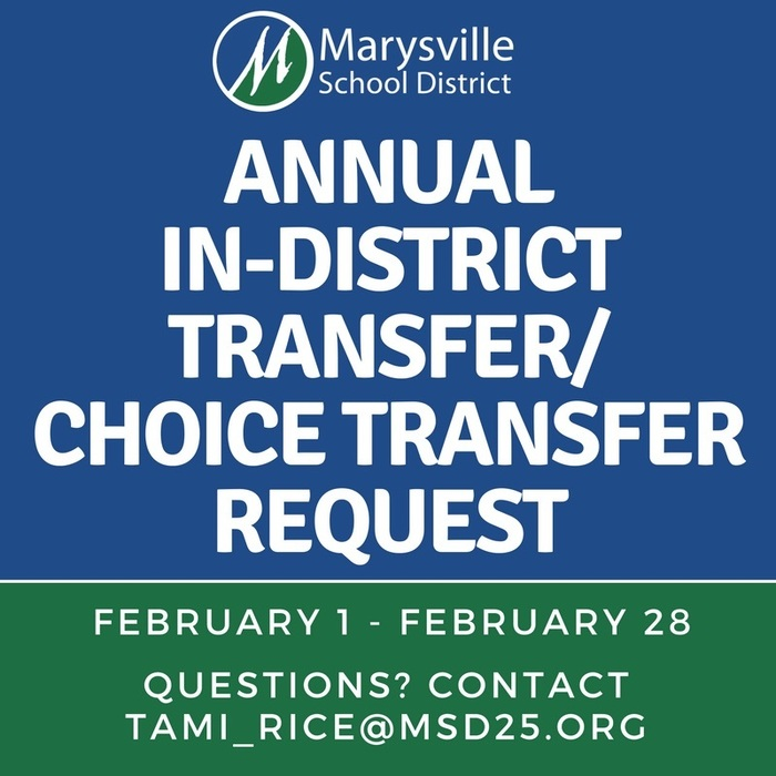 #MSD25's Annual In-District Transfer Request/Choice Transfer Request (Out-of-District Variance) period for the 2018-2019 school year ends this Wednesday, February 28, 2018. Forms are available at each school building and the District Office located at 4220 80th Street NE, Marysville, WA 98270. While it is always recommended to enroll your child in your neighborhood school, we do understand that at times circumstances exist that create the need to enroll in a school outside of your neighborhood school boundary area. More details can be found at http://www.msd25.org/o/District/page/register-for-school