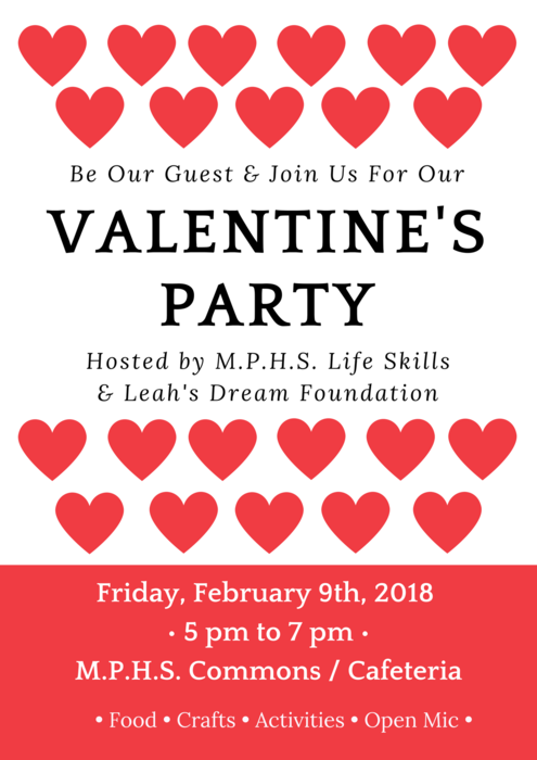 Valentine's Day Party, Friday, February 9, 2018, 5 p.m. - 7 p.m., MPHS Commons/Cafeteria, 5611 108th St NE, Marysville, WA 98271