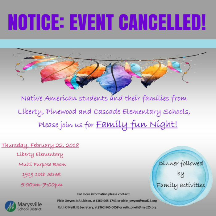 Cancelled: Tonight's Native American Students and Family Fun Night Cancelled.
