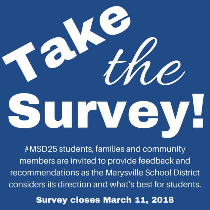 Image: #MSD25 is seeking input from students, families and community members as the District considers its direction and what's best for students! Take the survey at this link: https://tinyurl.com/MSDSurvey2018 Survey closes on March 11, 2018