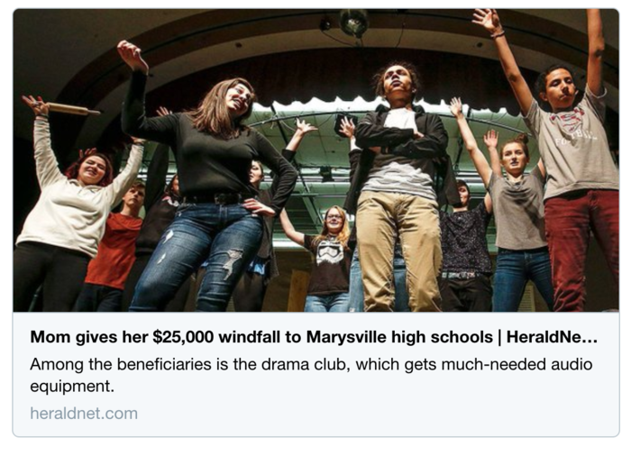 """Mom gives her $25,000 windfall to Marysville high schools"" via Everett Herald, March 15."