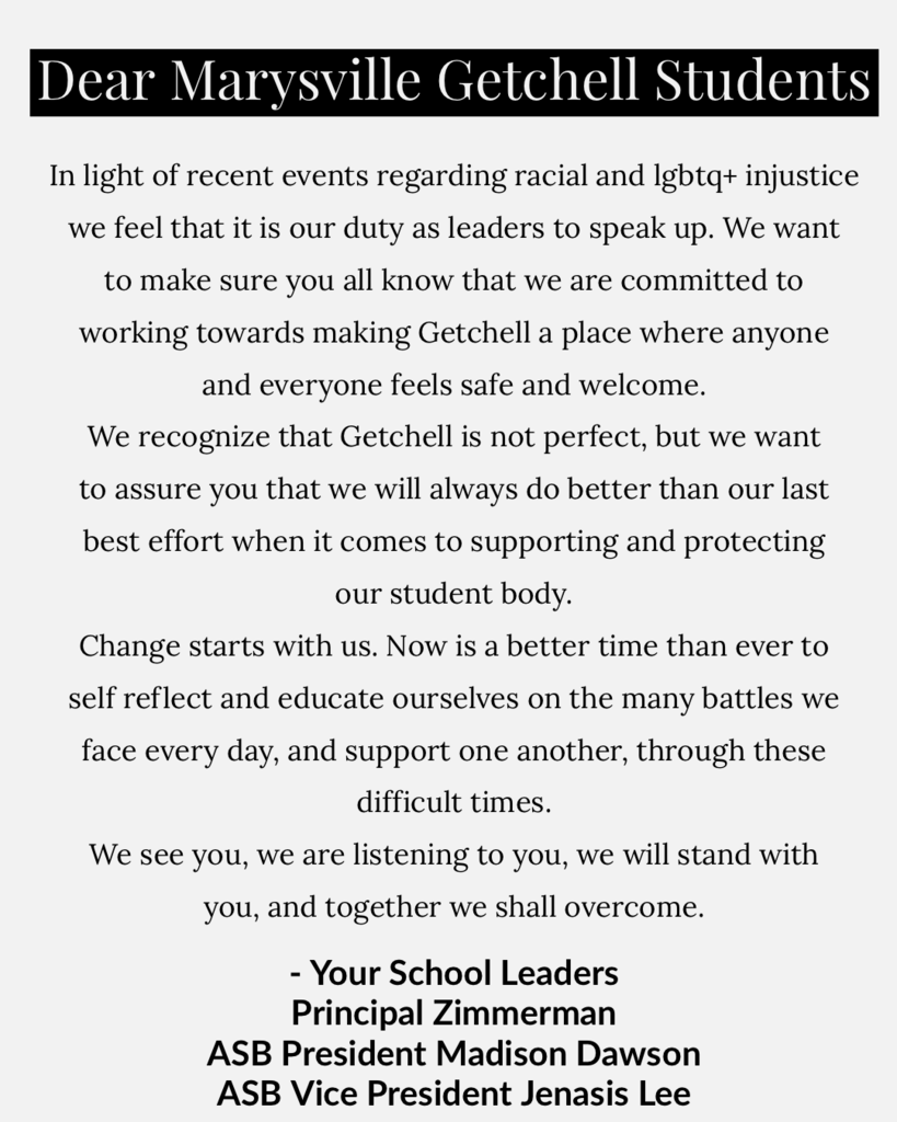 A message from our principal and student leaders!
