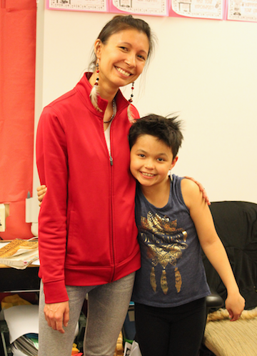 Photo of Native Storyteller and student