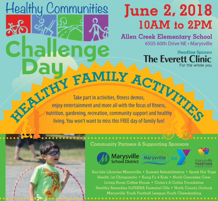 Healthy Communities Challenge Day, Saturday, June 2, 2018, 10 a.m. – 2 p.m. at Allen Creek Elementary School Play Field, 6505 60th Drive NE, Marysville WA 98270
