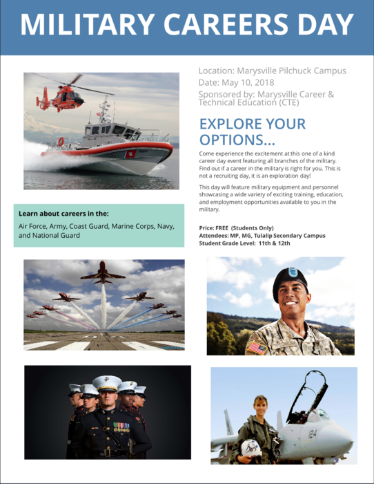 On Thursday, May 10 #MSD25 juniors and seniors will have an opportunity to explore a variety of training, education and employment opportunities available through the Air Force, Army, Coast Guard, Marine Corps, Navy, and National Guard during Military Careers Day at Marysville Pilchuck High School!