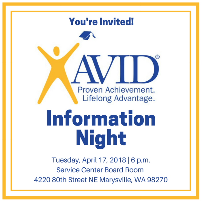 AVID is college readiness system designed to increase the number of students enrolled in higher ed. This elective class is offered at all #MSD25 middle & high schools. Find out more about AVID at an Information Night this Tuesday, April 17 at 6 p.m. in the District Board Room!