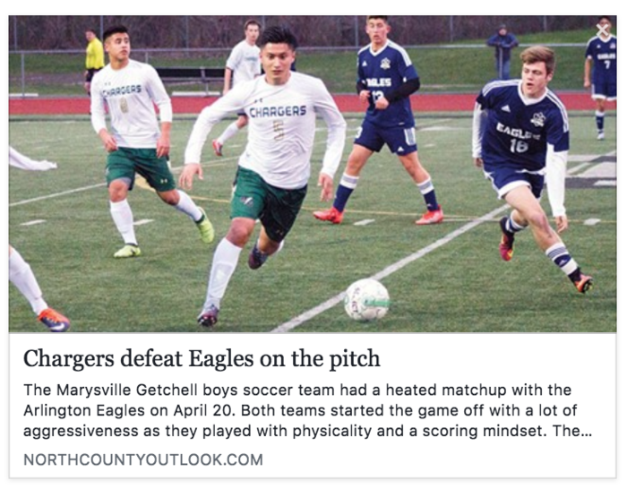 North County Outlook Article Headline: Chargers defeat Eagles on the pitch