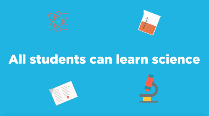 "Image that says, ""All students can learn science"""